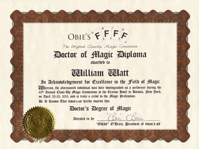 "William Watt diplomé ""Doctor of Magic"" à Buffalo (New-York) en 2015"