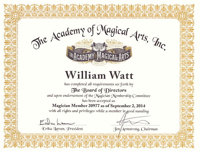 "William Watt diplomé ""Membre du World Famous Magic Castle"" à Hollywood (Los Angeles) en 2014"